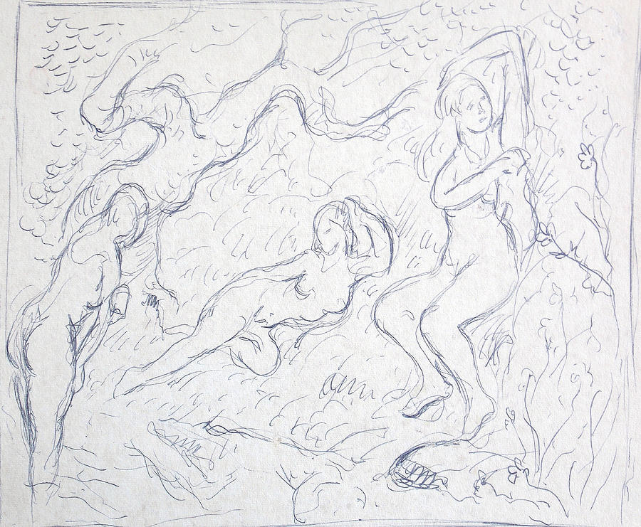 Pencil Drawing - Nude Souls by Bill Joseph  Markowski