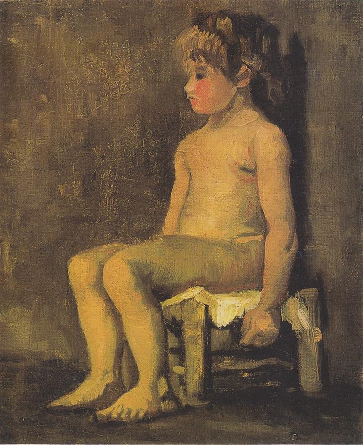Van Gogh Digital Art - Nude Study Of A Little Gir Seated by Vincent Van Gogh