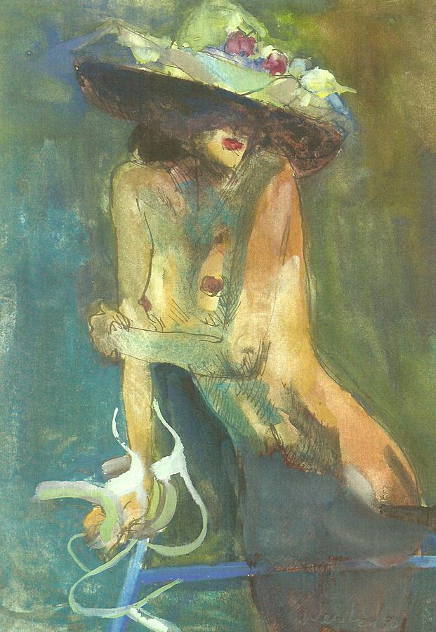 Erotic Painting - Nude With Bicycle by Harry  Weisburd