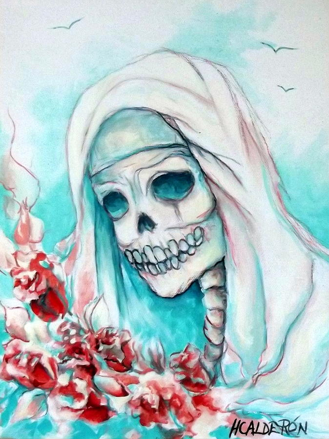 Day Of The Dead Painting - Nun With Flowers by Heather Calderon