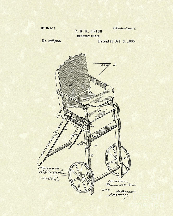 Krier Drawing - Nursery Chair 1885 Patent Art by Prior Art Design