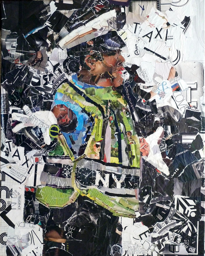 Torn Paper Collage Painting - Ny Policewoman by Suzy Pal Powell