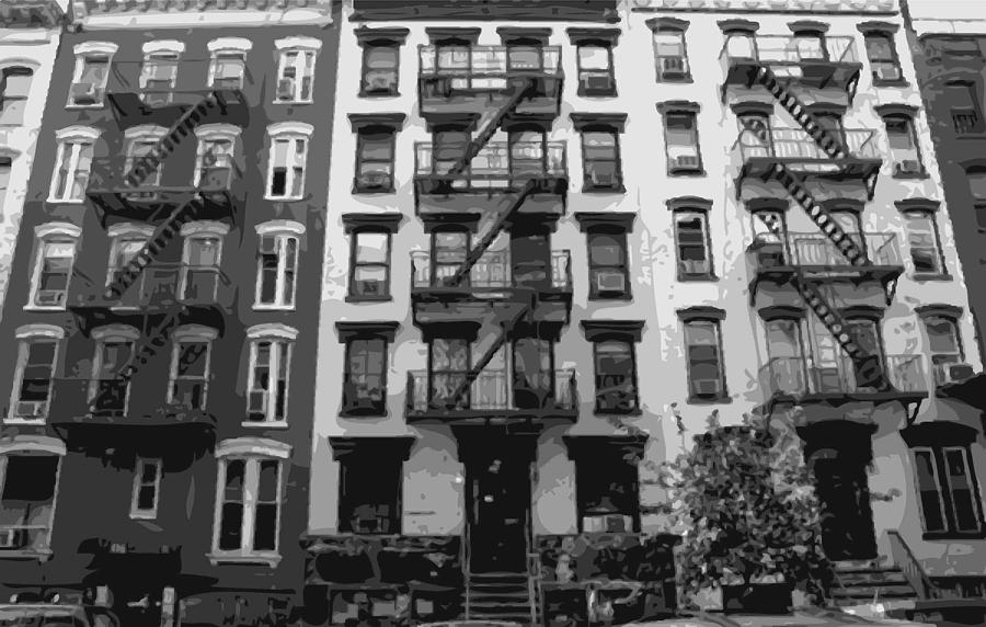 Nyc Fire Escapes Photograph - Nyc Apartment Bw8 by Scott Kelley
