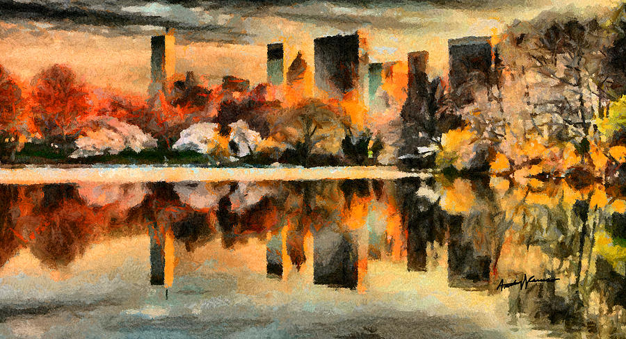 Cityscape Painting - Nyc At Sunset by Anthony Caruso