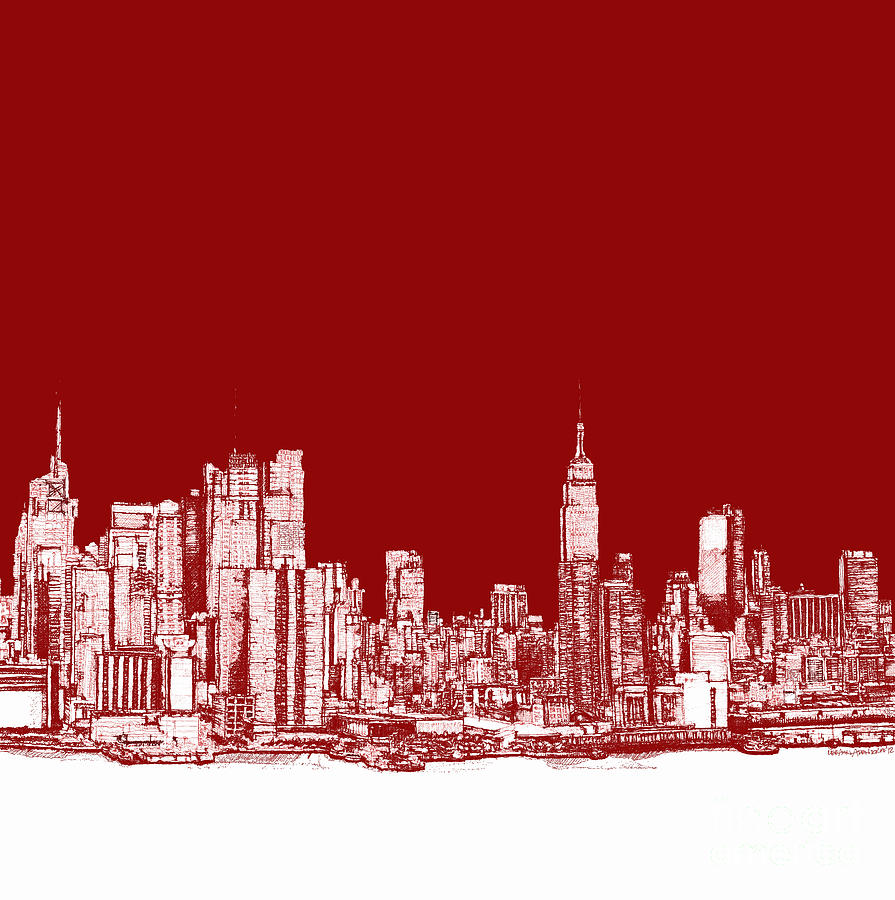 Red Drawing - Nyc In Red N White by Adendorff Design