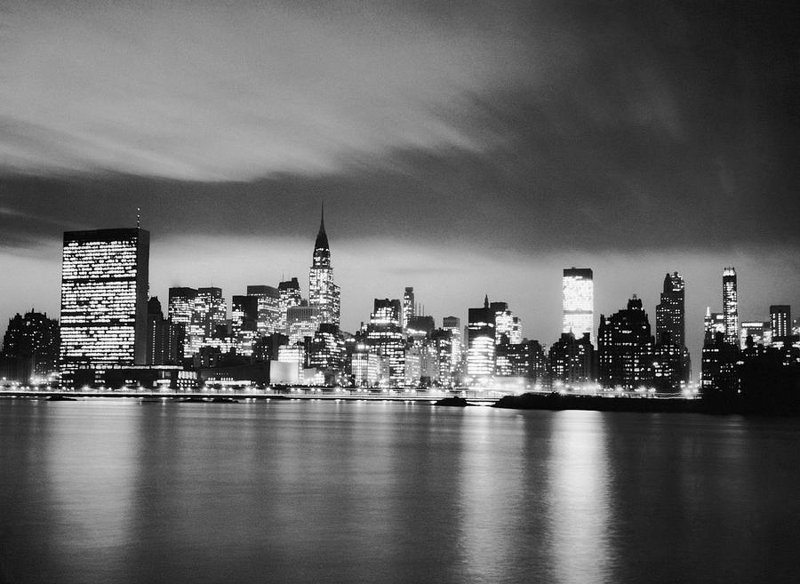 Horizontal Photograph - Nyc Skyline At Night by George Marks