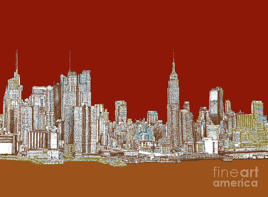 Red Drawing Nyc Skyline In Red