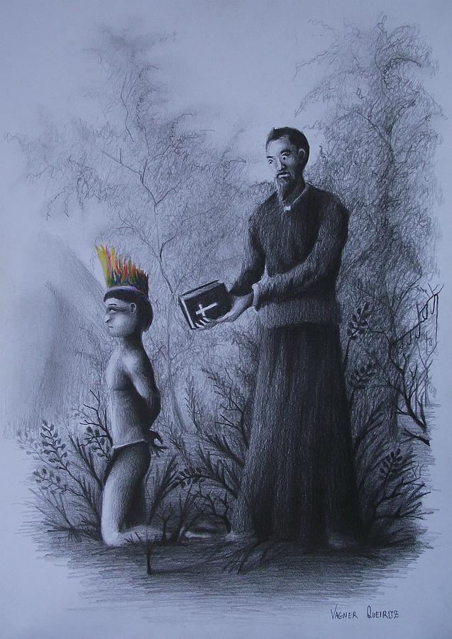 Padre Drawing - O Massacre Em Vera Cruz by Vagner Queiroz