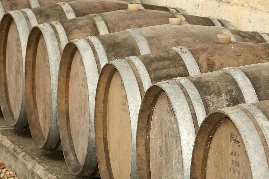 Horizontal Photograph - Oak Wine Barrels In Castillion La Bataille, France by Steven Morris Photography