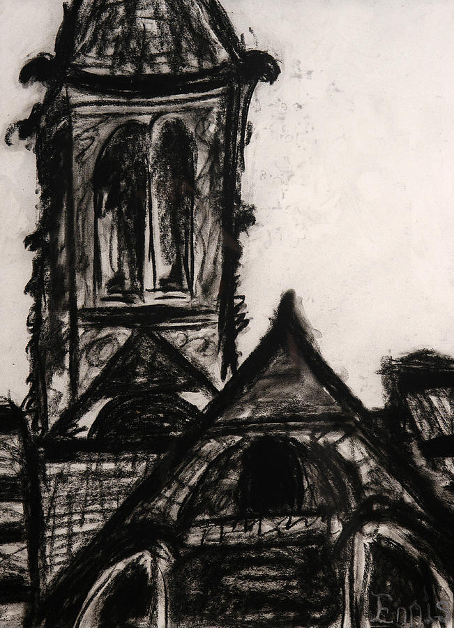 Ennis Drawing - Oakwood Church Front by Christophe Ennis