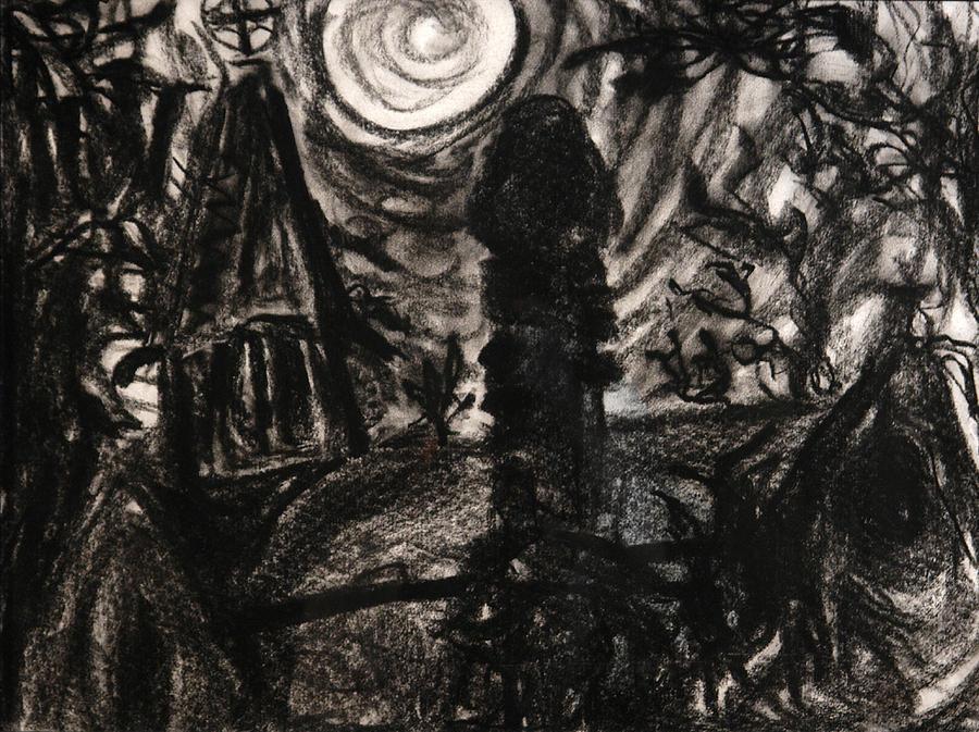 Ennis Drawing - Oakwood Church Rear by Christophe Ennis