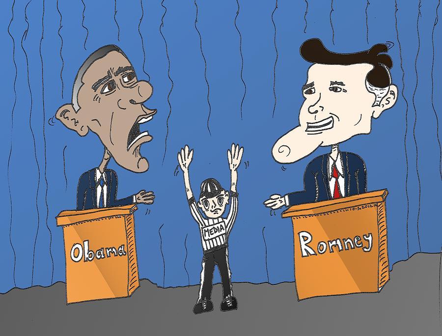 Cartoon Mixed Media - Obama And Romney Debate Cartoon by OptionsClick BlogArt
