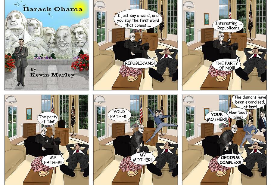 Barack  Obama Digital Art - Obama N Freud II by Kevin  Marley