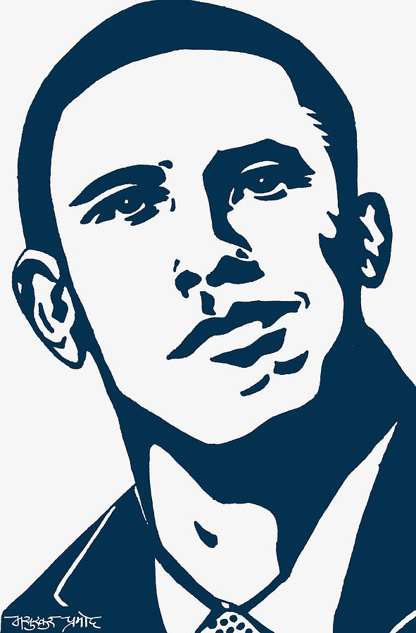 Barrack Obama Drawing - Obama by Pramod Masurkar