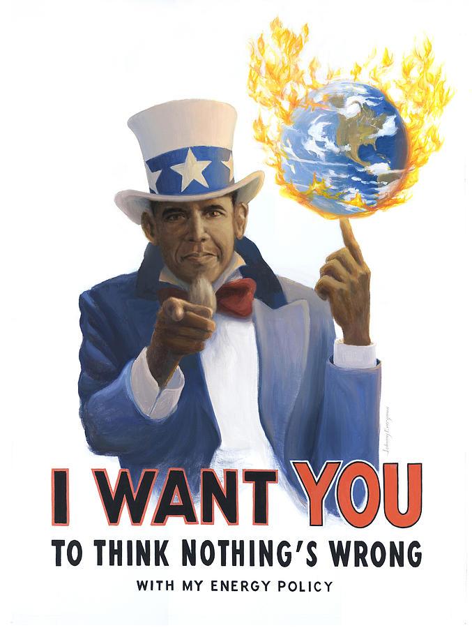Obama Painting - Obama Wants You by Johnny Everyman