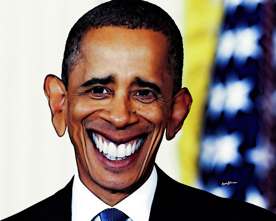 Caricatures Drawing - Obamacaricature by Anthony Caruso