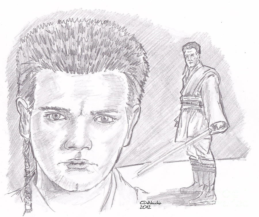 Obi Wan Kenobi Episode I Drawing by Chris  DelVecchio