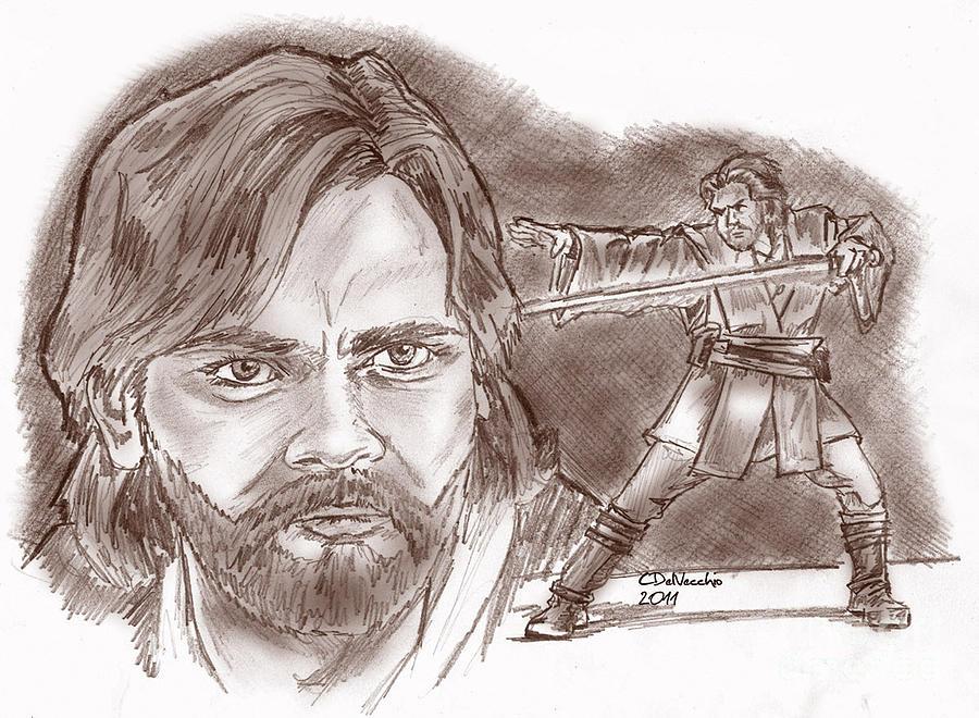 Obi Wan Kenobi Episode II Drawing by Chris  DelVecchio