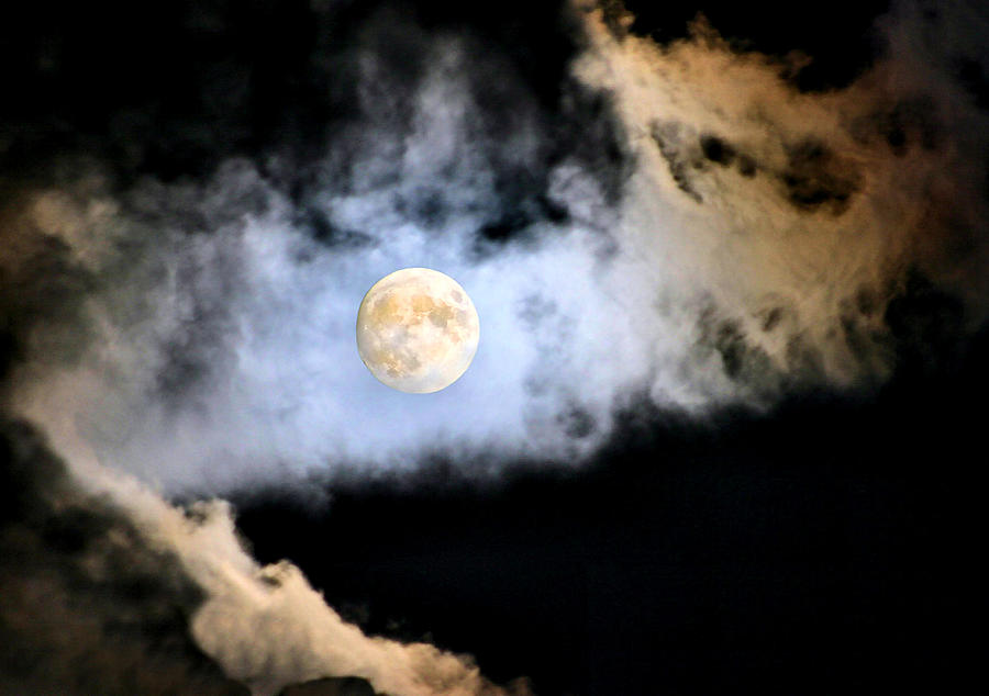 Moon Photograph - Obscured By Clouds by Kristin Elmquist