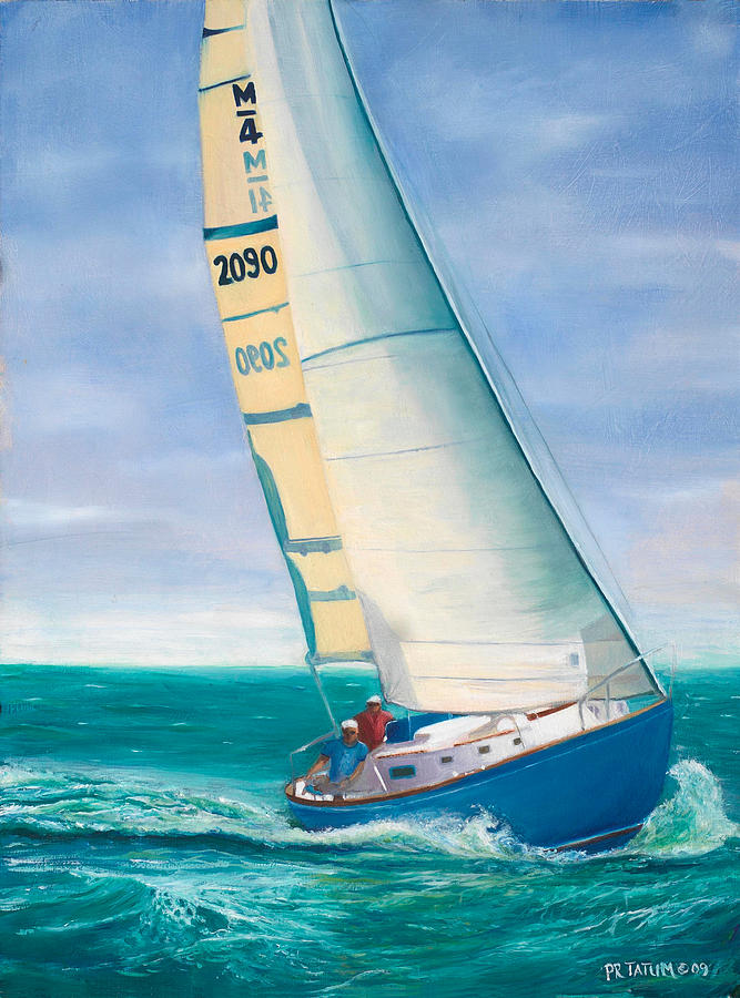 Sail Boat Painting - obsession Racing On The Atlantic by Pamela Ramey Tatum