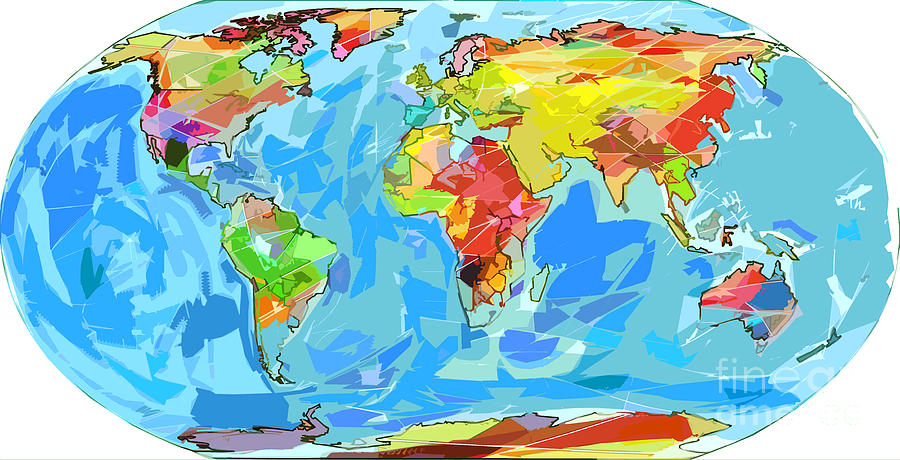 Ocean currents world map painting by david lloyd glover maps painting ocean currents world map by david lloyd glover gumiabroncs Images