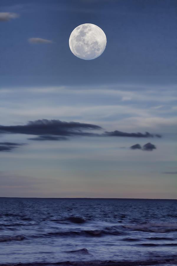 Moon Photograph - Ocean Moon by Douglas Barnard