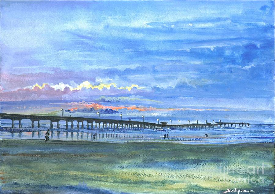 Ocean Pier Painting By Sudipta Ghosh