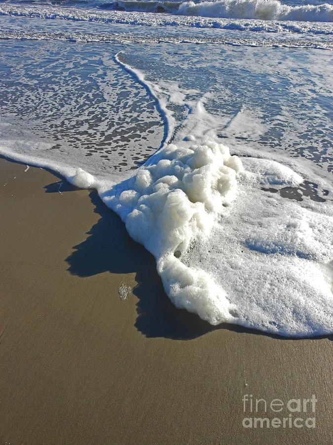 Oak Island Beach Photograph - Ocean Suds by Beebe  Barksdale-Bruner