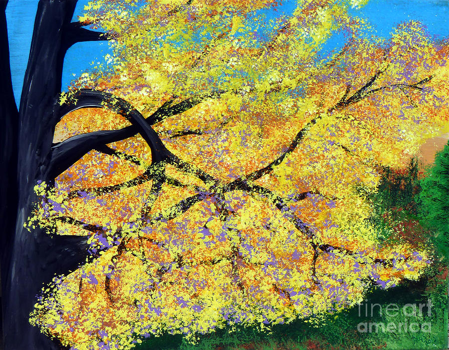 Indiana Painting - October Fall Foliage by Alys Caviness-Gober