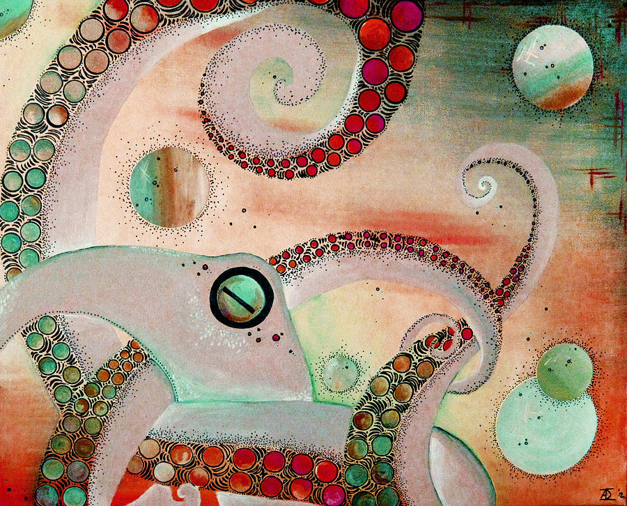 Octopus Mixed Media - Octopus Tangle by Adrienne McMahon