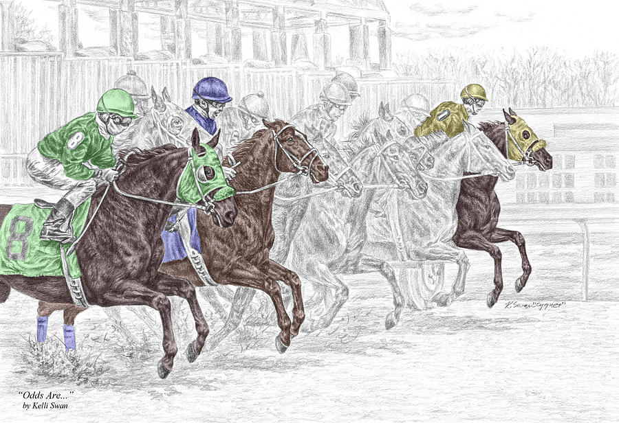 Tb Drawing - Odds Are - Tb Horse Racing Print Color Tinted by Kelli Swan