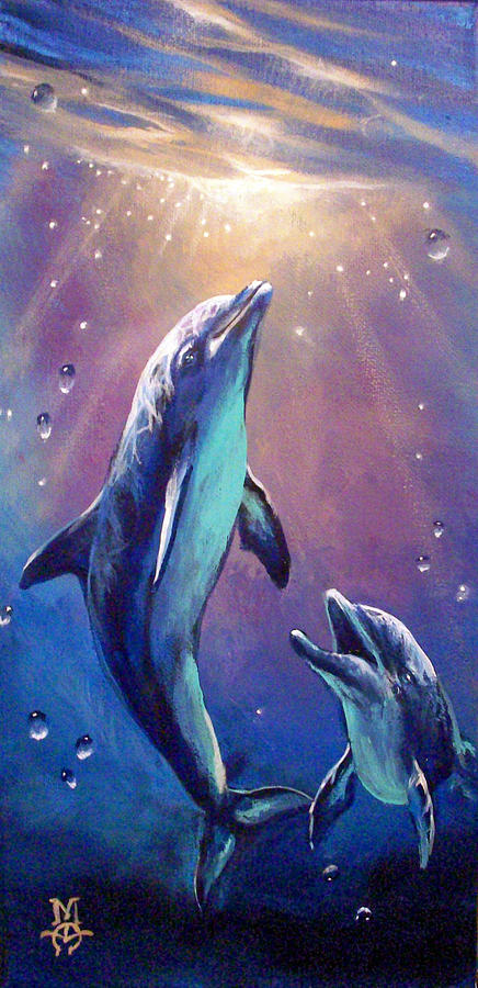 Dolphins Painting - Ode To Joy by Marco Antonio Aguilar