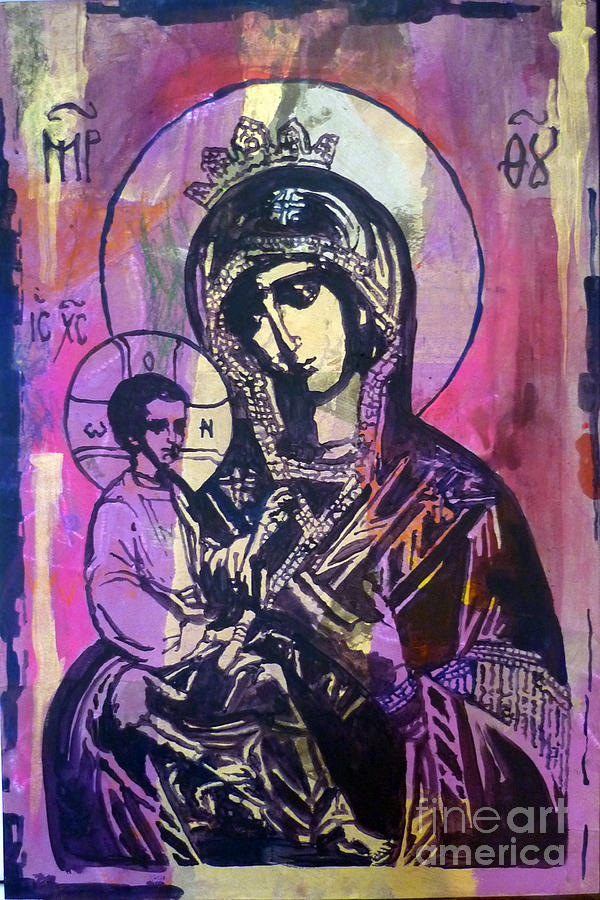 Panagia Painting - Odigitria by Martina Anagnostou
