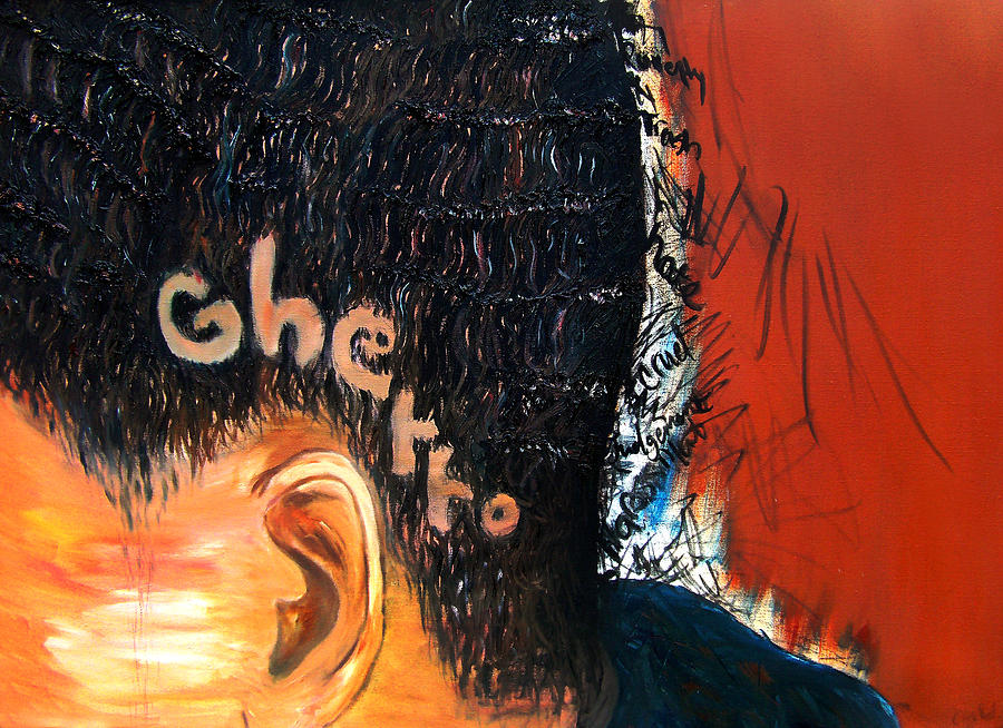 Hair Painting - Of Or Relating To The Poor Life by Angie  Redmond Artist
