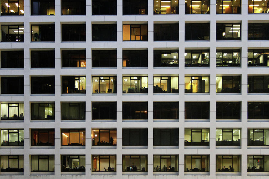 Horizontal Photograph - Office Building At Night by Lars Ruecker