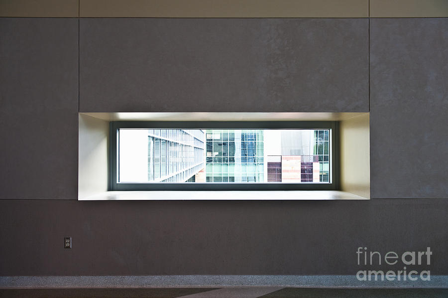 Architectural Detail Photograph - Office Buildings Seen Through Window by Dave & Les Jacobs