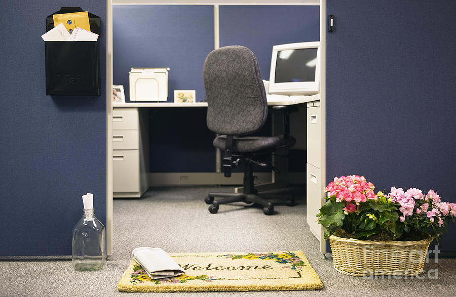 Blue Photograph - Office Cubicle by Andersen Ross