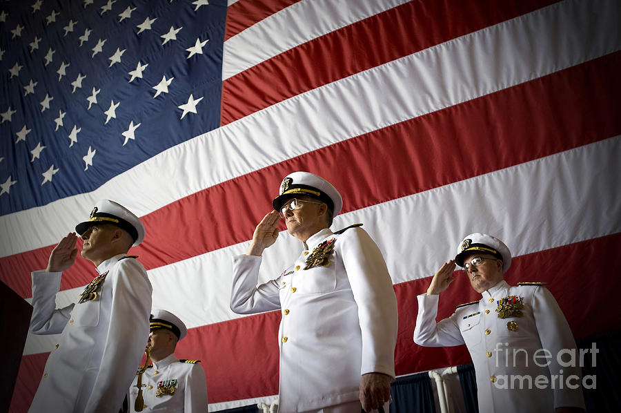 Navy Cyber Forces Photograph - Officers Render Honors During A Change by Stocktrek Images