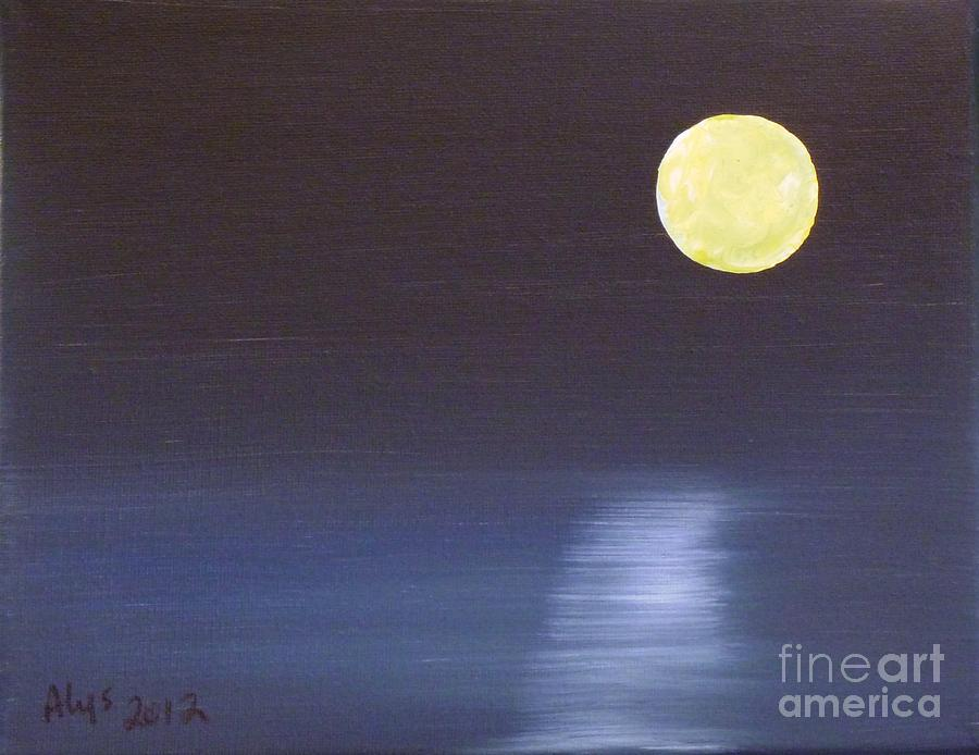 Moon Painting - Offset Moon by Alys Caviness-Gober