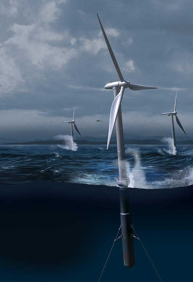 Equipment Photograph - Offshore Wind Farm In A Storm, Artwork by Claus Lunau