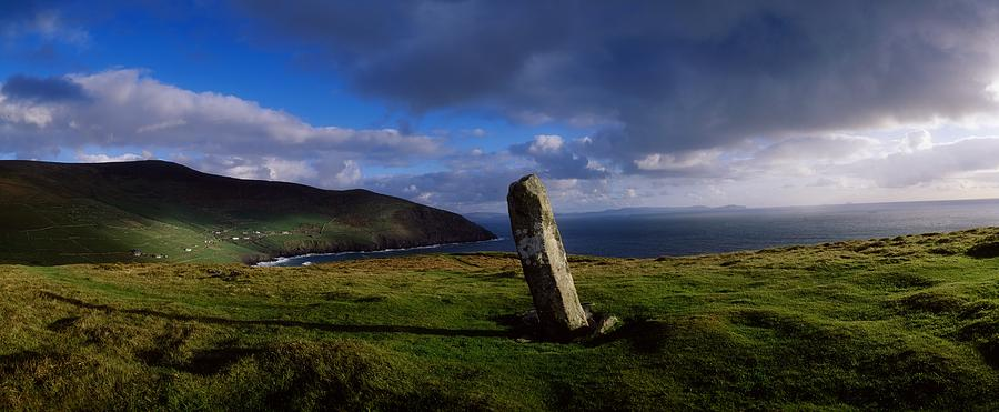 Architectural Heritage Photograph - Ogham Stone At Dunmore Head, Dingle by The Irish Image Collection