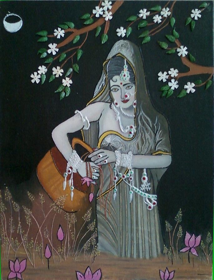 Oil Painting - Oil Painting...a Lady With Pitcher by Priyanka Rastogi