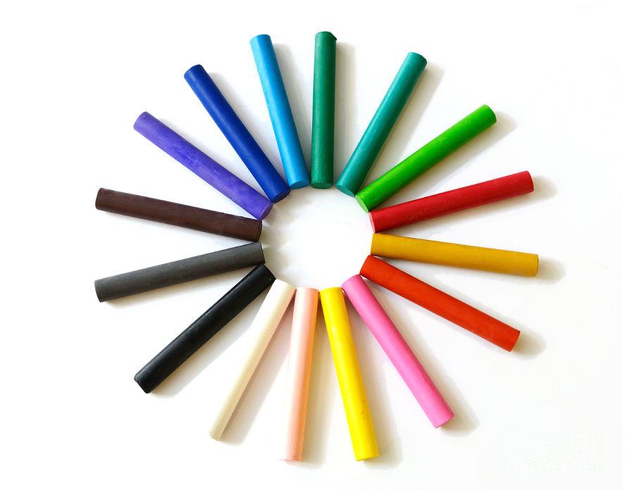 Background Photograph - Oil Pastel Crayons by Rakratchada Torsap