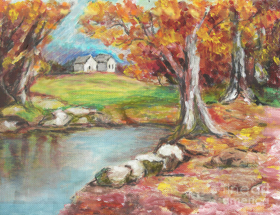 Fall Painting - Oil Pastel by Lyn Vic