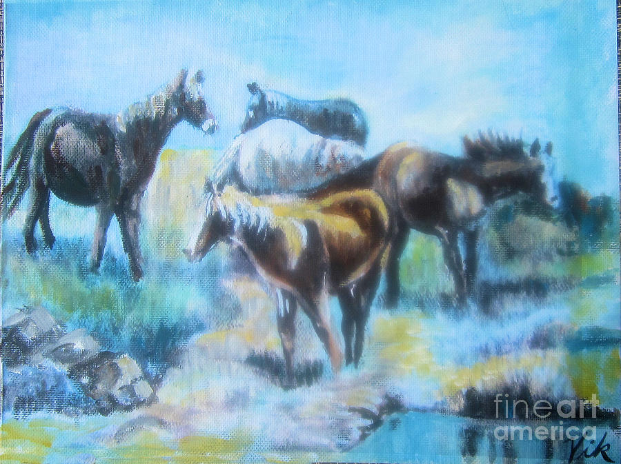 Horses Painting - Oil Pastel2 by Lyn Vic