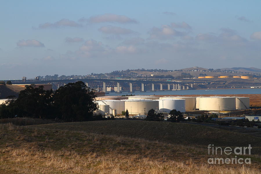 Bridge Photograph - Oil Refinery Industrial Plant And Martinez Benicia Bridge In Martinez California . 7d10388 by Wingsdomain Art and Photography