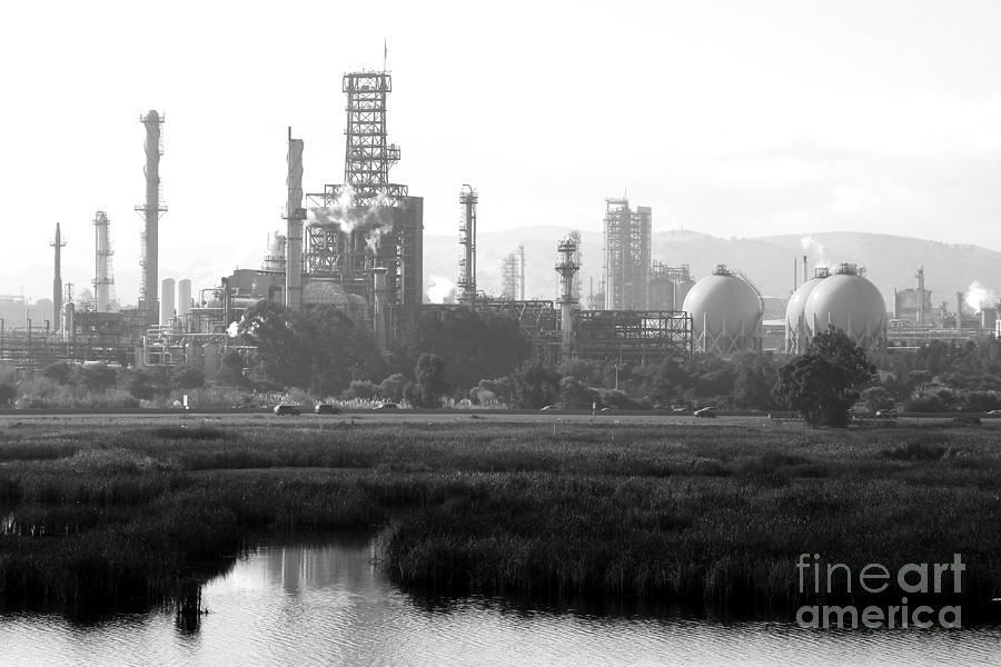 Black and white photograph oil refinery industrial plant in martinez california 7d10364 black