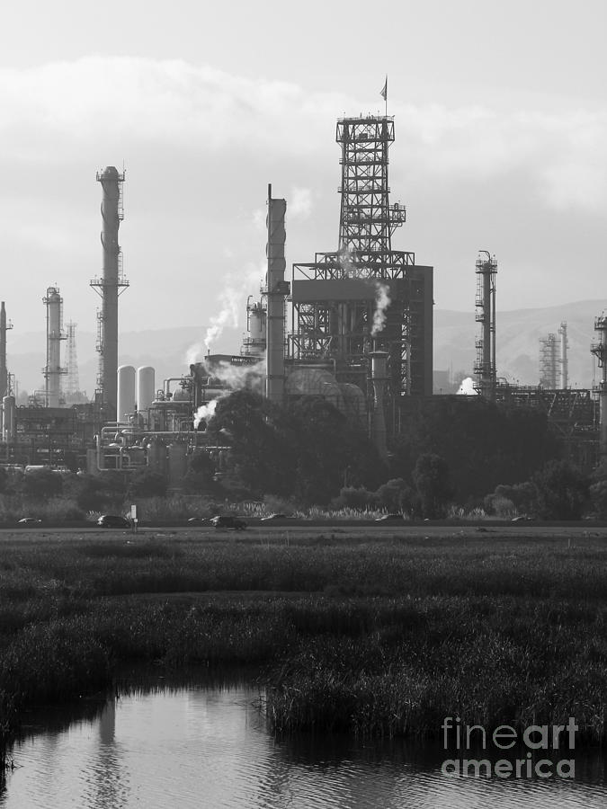 Black and white photograph oil refinery industrial plant in martinez california 7d10368 black
