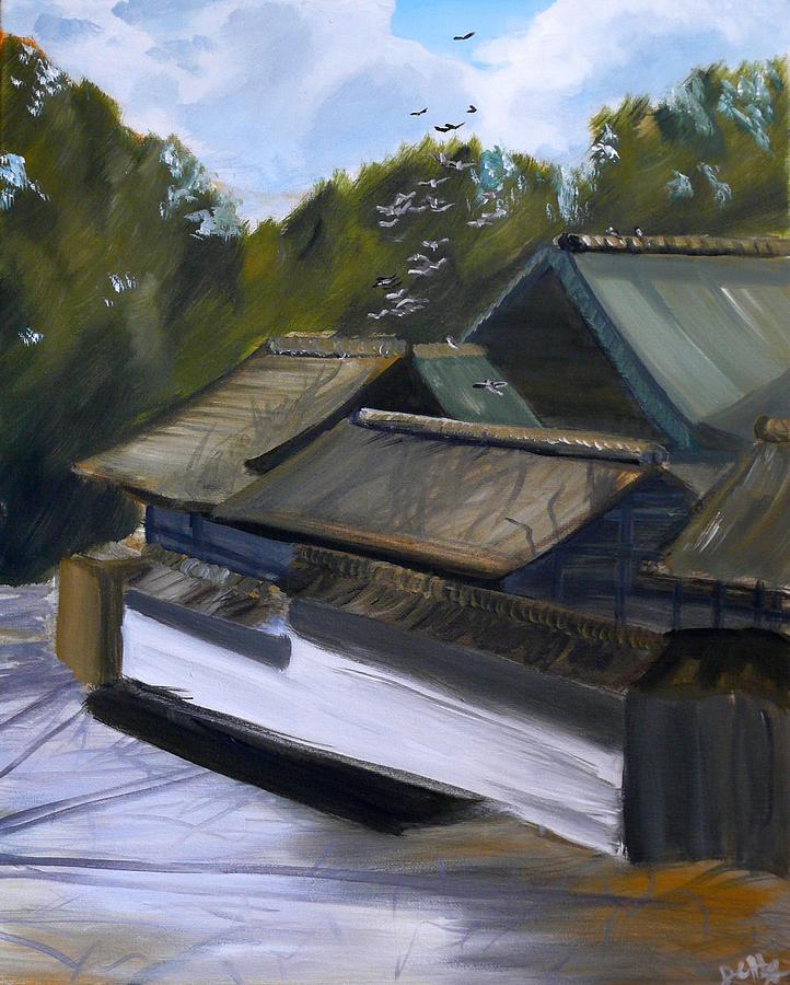 Landscape Painting - Okazaki Castle by Janice Harvey