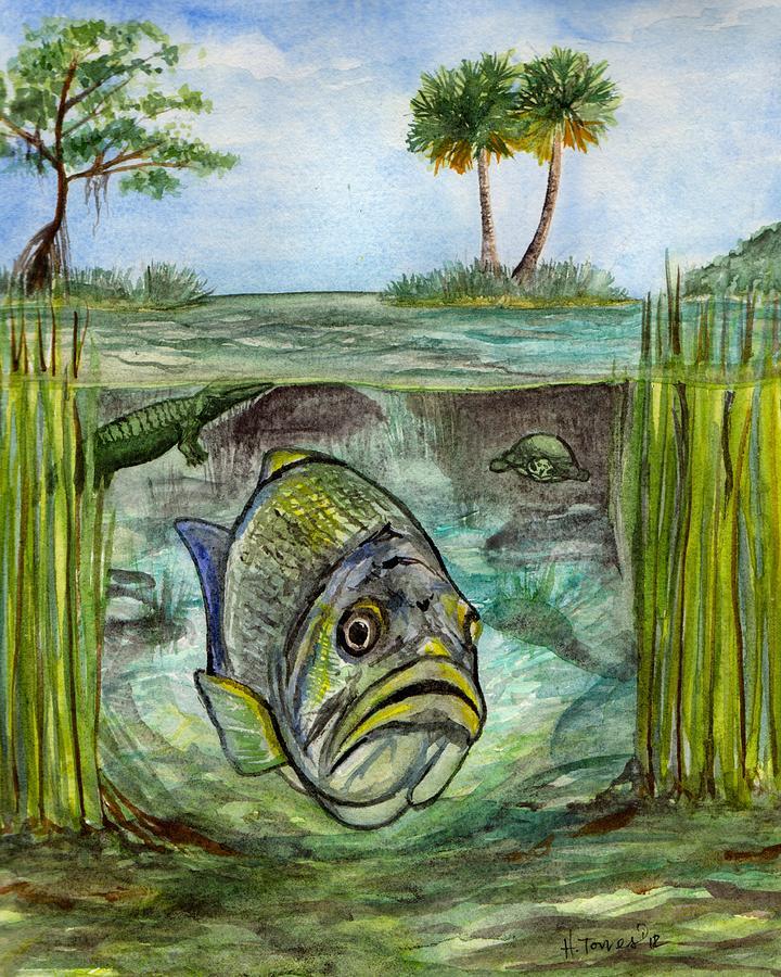 Lake Painting - Okeechobee Underwater by Heather Torres